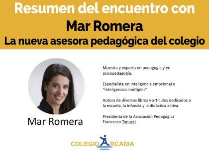 Resumen del encuentro con Mar Romera, nuestra nueva asesora pedagógica